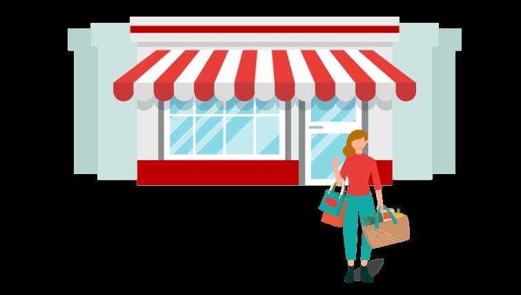 Cliente faisant du shopping dans le centre-ville