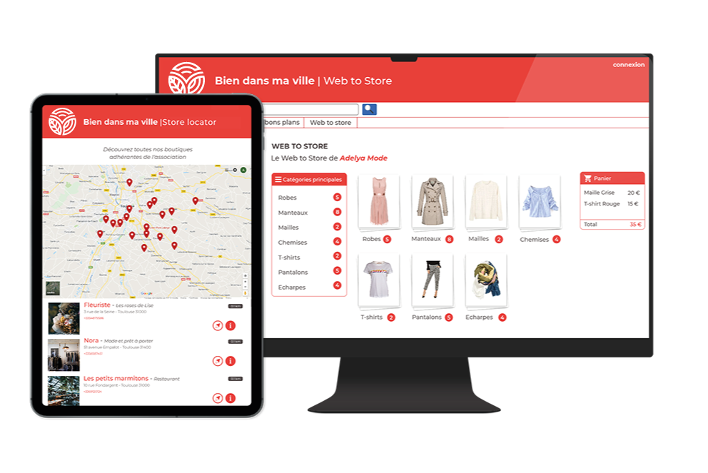 Store locator et click and collect d'une union commerciale